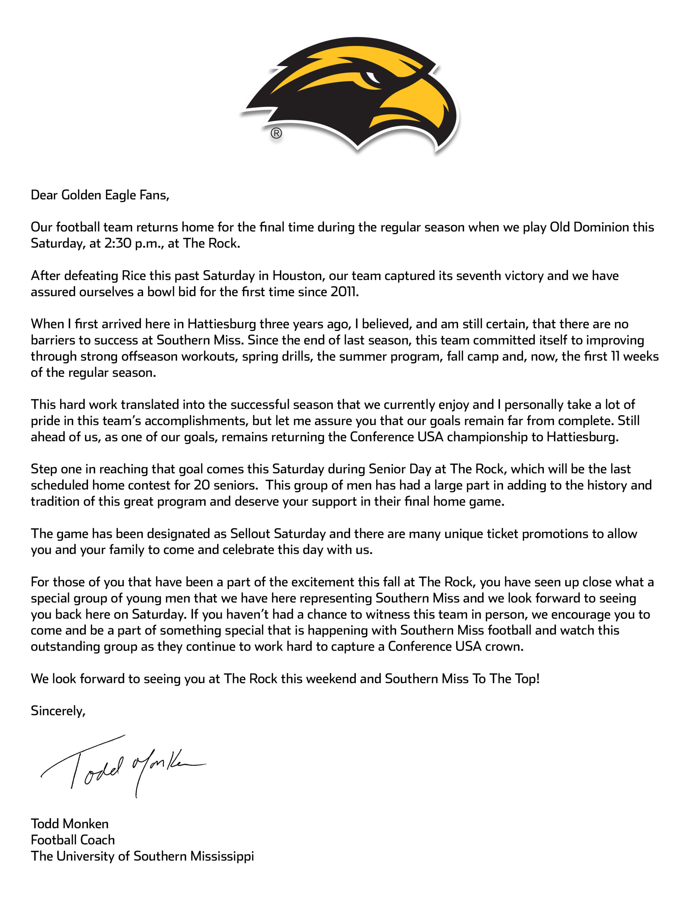 Letter From Coach Monken