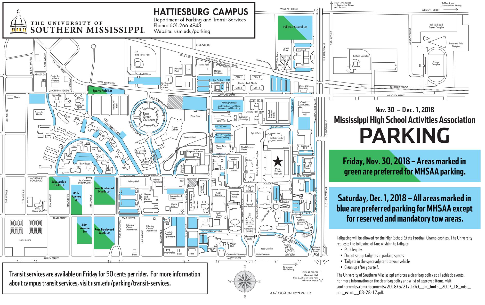 southern miss campus map Southern Miss Announces Available Parking For Mhsaa State Football southern miss campus map